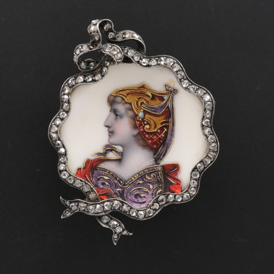 Victorian Renaissance Revival 14K, Sterling and Diamond Portrait Brooch