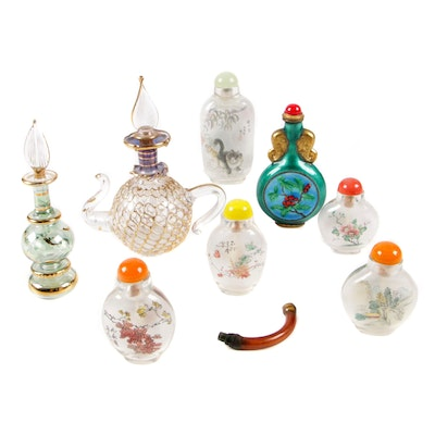Reverse Hand Painted Japanese Decorative Snuff Bottles with Perfume Bottles