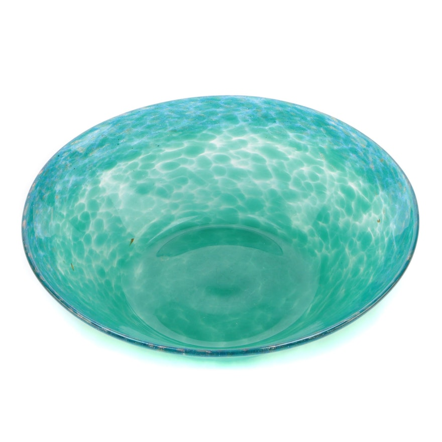 Monart Glass Bowl in Mottled Green to Blue and Gold, Scotland, 20th Century