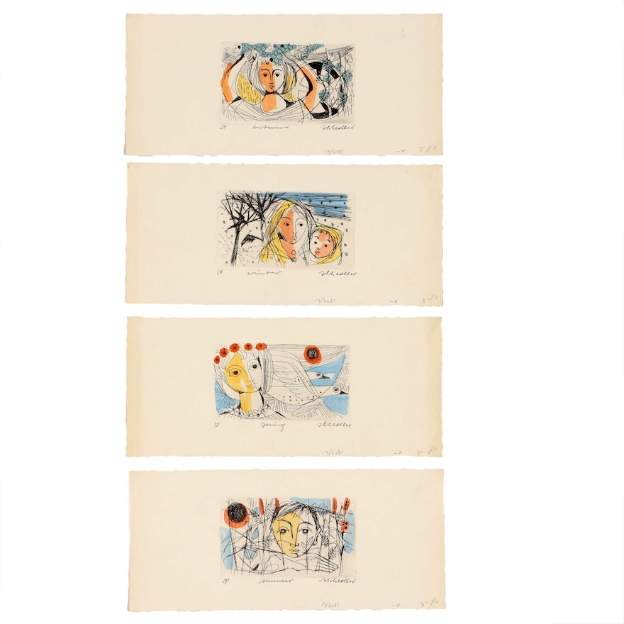 """Jacques Schedler Hand Colored Etchings """"Four Seasons"""", 1958"""
