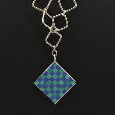 Sterling Malachite and Lapis Lazuli Checkerboard Motif Pendant Necklace