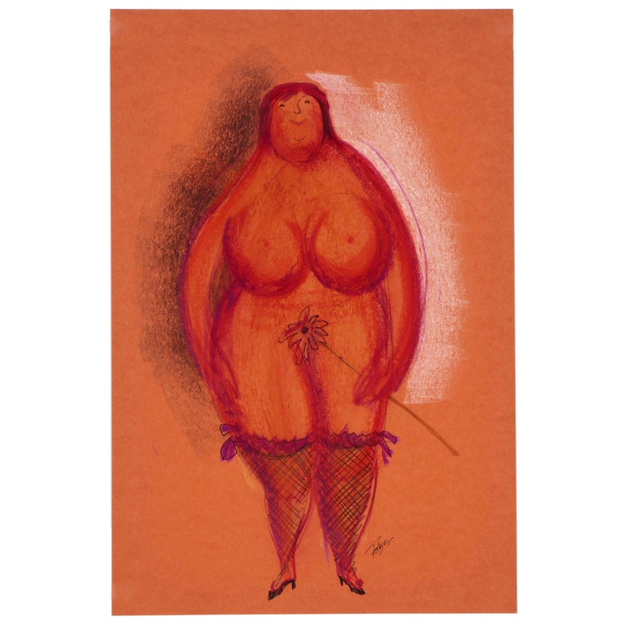 Franklin Folger Ink and Pastel Drawing of Female Figure