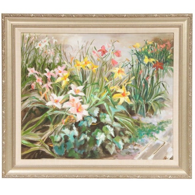Late 20th Century Flower Garden Oil Painting