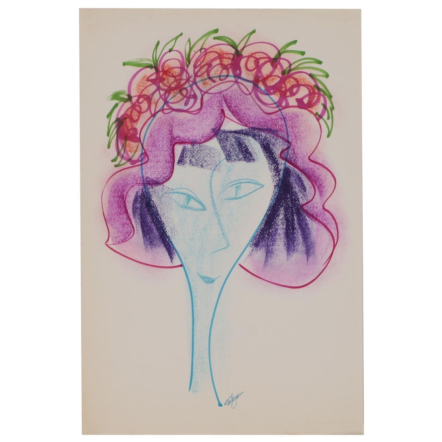 Franklin Folger Ink and Pastel Drawing of Woman in Flowered Hat
