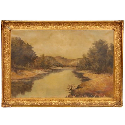 River Landscape Oil Painting, Late 19th Century