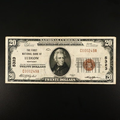 Series of 1929 $20 National Currency Note with Red Seal