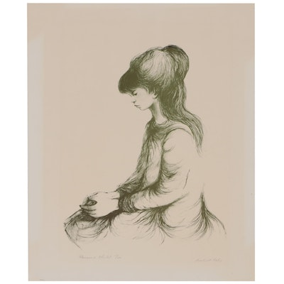 "Robert Fabe Relief Halftone Print ""Pensive Child"""