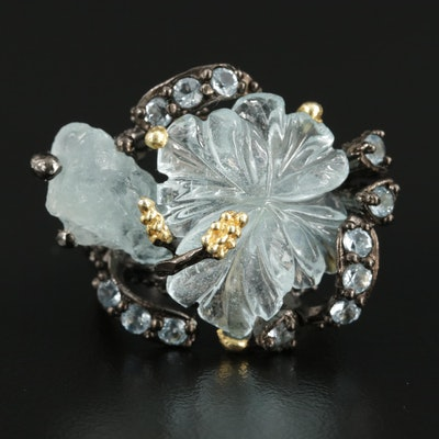 Sterling Silver Aquamarine and Topaz Ring Featuring Natural and Floral Motif