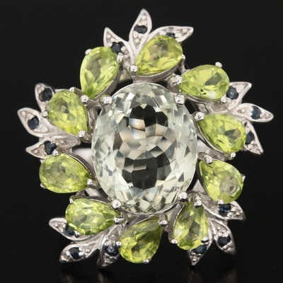 Sterling Silver Prasiolite, Peridot, and Sapphire Ring Featuring Wreath Motif