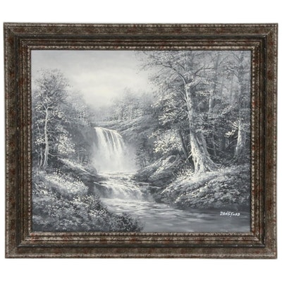 Dansford Waterfall Landscape Oil Painting