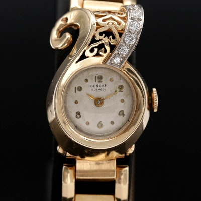 Vintage Geneve 14K Gold and Diamond New Retro Era Style Stem Wind Wristwatch