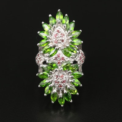 Sterling Silver Fancy Sapphire and Chrome Diopside Ring