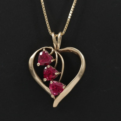 14K Yellow Gold Synthetic Ruby Heart Pendant Necklace