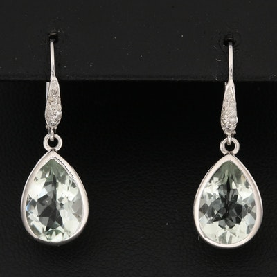 Sterling Silver Prasiolite and Diamond Earrings