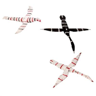 Handcrafted Wooden Folk Art Hanging Birds