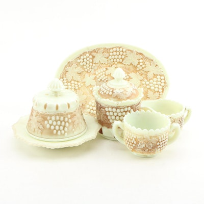 "Northwood ""Grape and Cable"" Custard Glass Breakfast Set and Other Tableware"