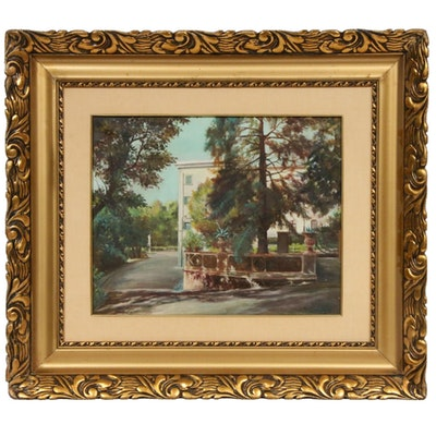 U. Beretta Courtyard Landscape Oil Painting, Early-Mid 20th Century