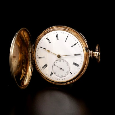 14K Hunting Case Swiss Pocket Watch