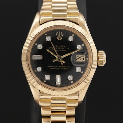 "Vintage Rolex Diamond Dial Datejust ""President"" 18K Gold Wristwatch, 1975"