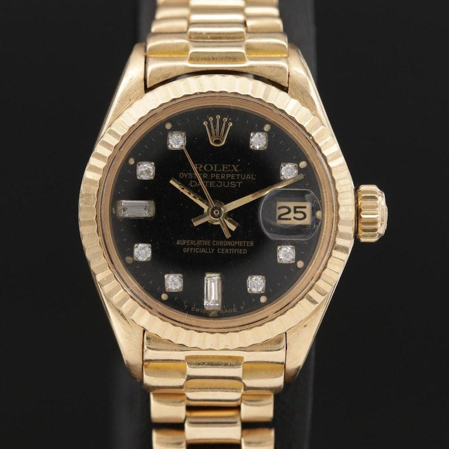 "Vintage Rolex Diamond Dial Datejust ""President"" 18K Gold Wristwatch, 1975"