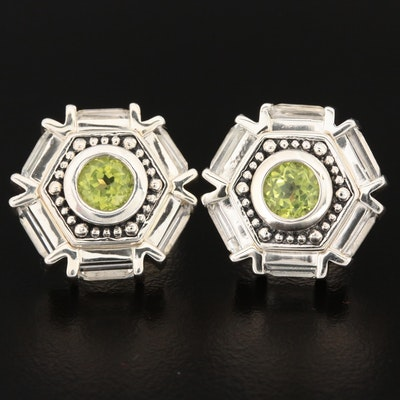Sterling Silver Peridot and Topaz Earrings