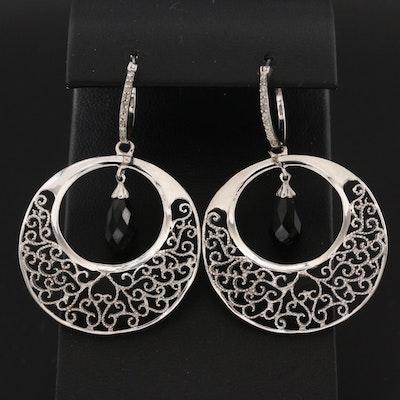 Sterling Silver Black Onyx and Diamond Scrollwork Earrings