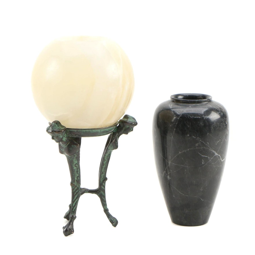 Alabaster Votive with Faux Verdigris Stand and Marble Vase