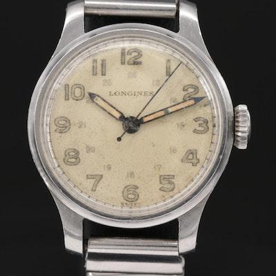 Vintage Longines WWII Military Stem Wind Wristwatch, 1943