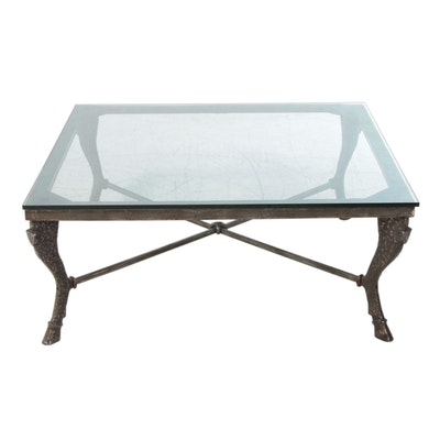 Cast Steel Glass Top Coffee Table