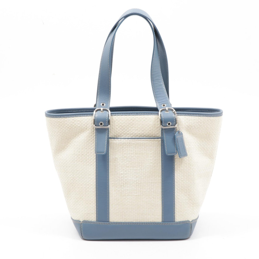 Coach Hampton Woven Straw and Blue Leather Shopper Tote