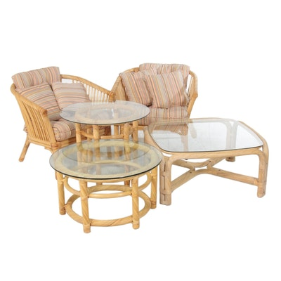 Rattan Patio Chairs and Accent Tables in the Style of Ficks Reed