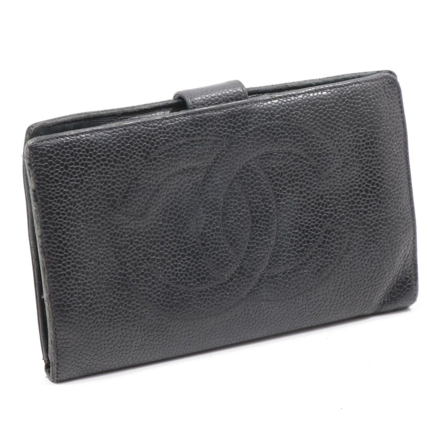 Chanel CC Black Caviar Leather Bifold Wallet