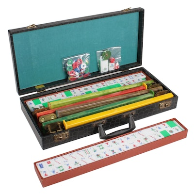 Mahjong Travel Set in Embossed Carrying Case