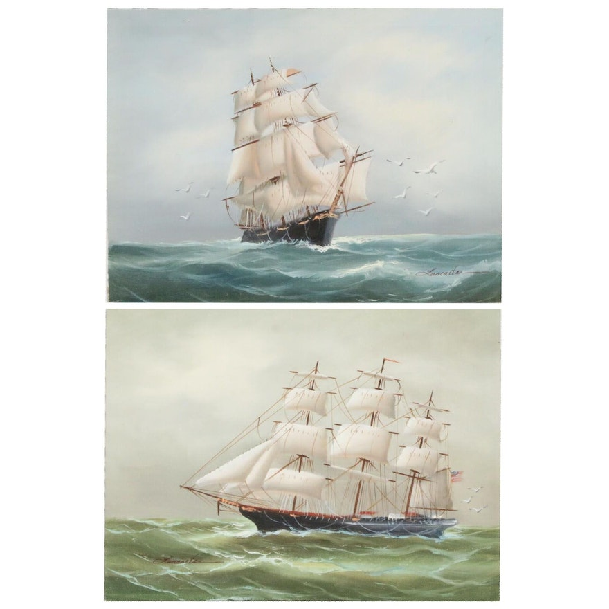 Clipper Ship Oil Paintings, Mid-Late 20th Century
