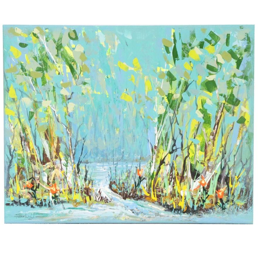 Farshad Lanjani Pond Landscape Acrylic Painting