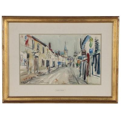 Gen Paul Expressionist Watercolor Street Scene