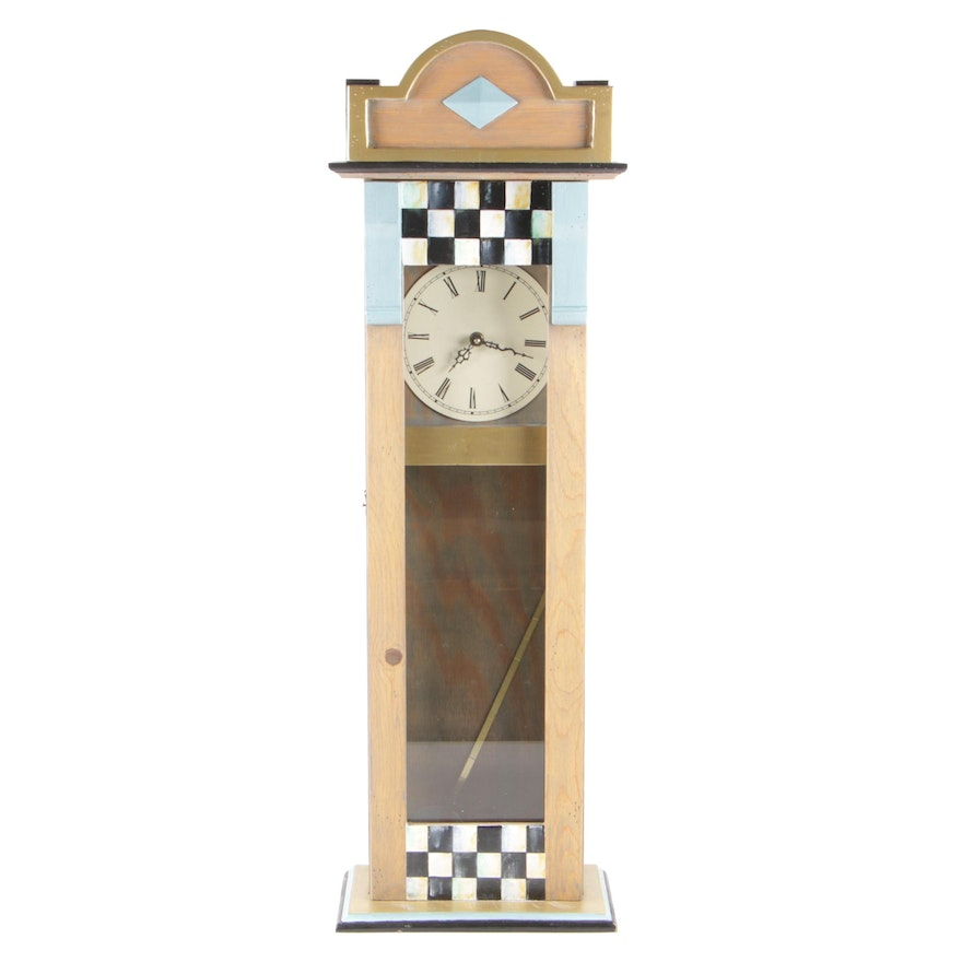 Tall Hand-Painted Table Clock with Pendulum, Battery Operated