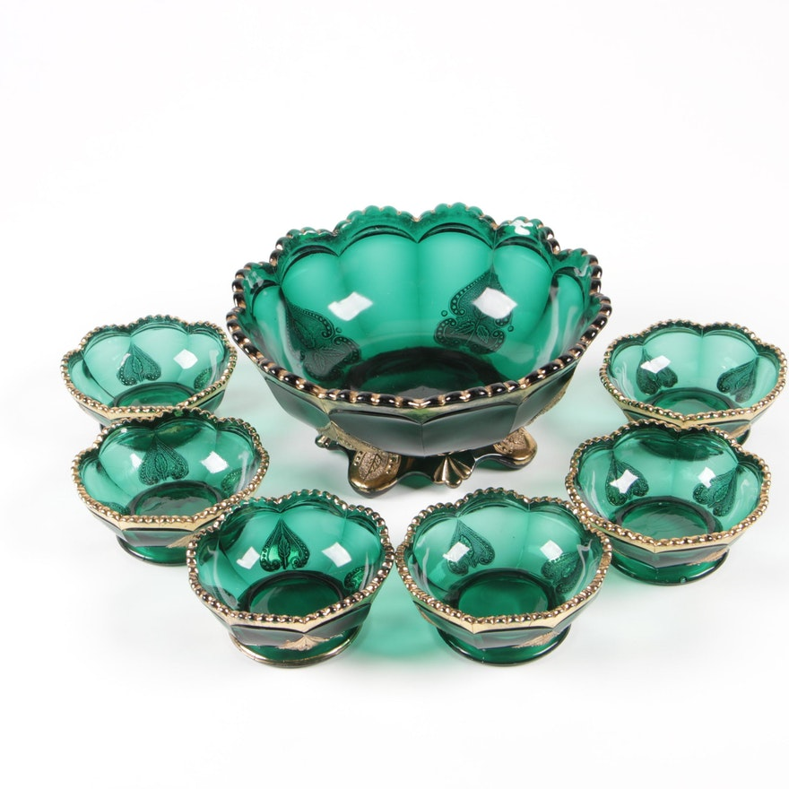 "Northwood ""Regent"" Green Glass Berry Set for Six, Early 20th Century"