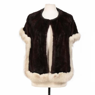 Mahogany Mink and Fox Fur Stole with Leather Trim from The Union Dept. Store