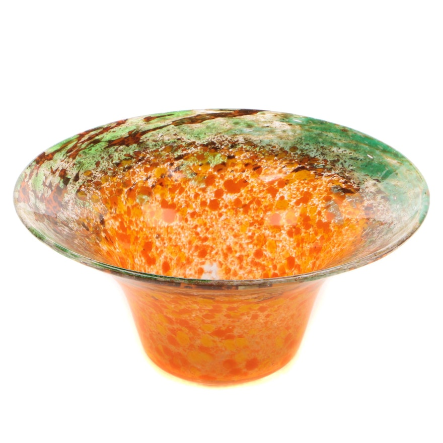Monart Glass Console Bowl In Orange, Brown, Green, and Aventurine, 20th Century