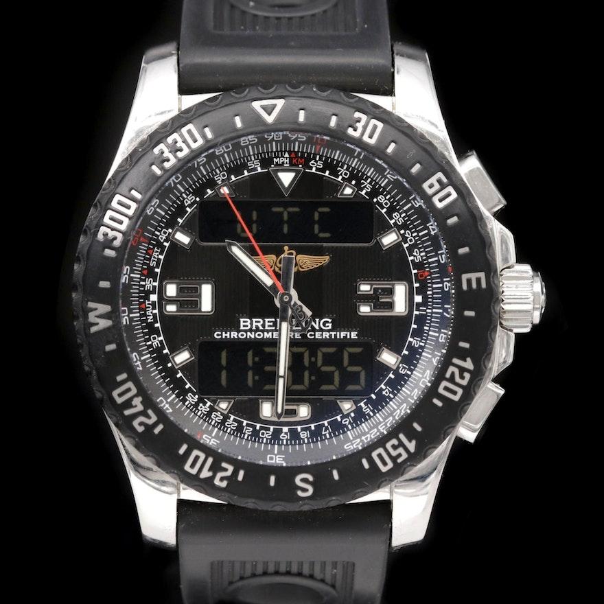 Breitling Airwolf Raven Stainless Steel Quartz Chronograph Wristwatch