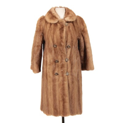 Pastel Mink Fur Double-Breasted Coat with Decorative Buttons, Mid-20th Century