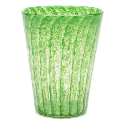 Monart Striped Green Art Glass Vase, Scotland, 20th Century