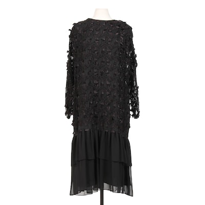 Givenchy en Plus Black Chiffon Drop-Waist Dress with Ruched Ribbon Detail