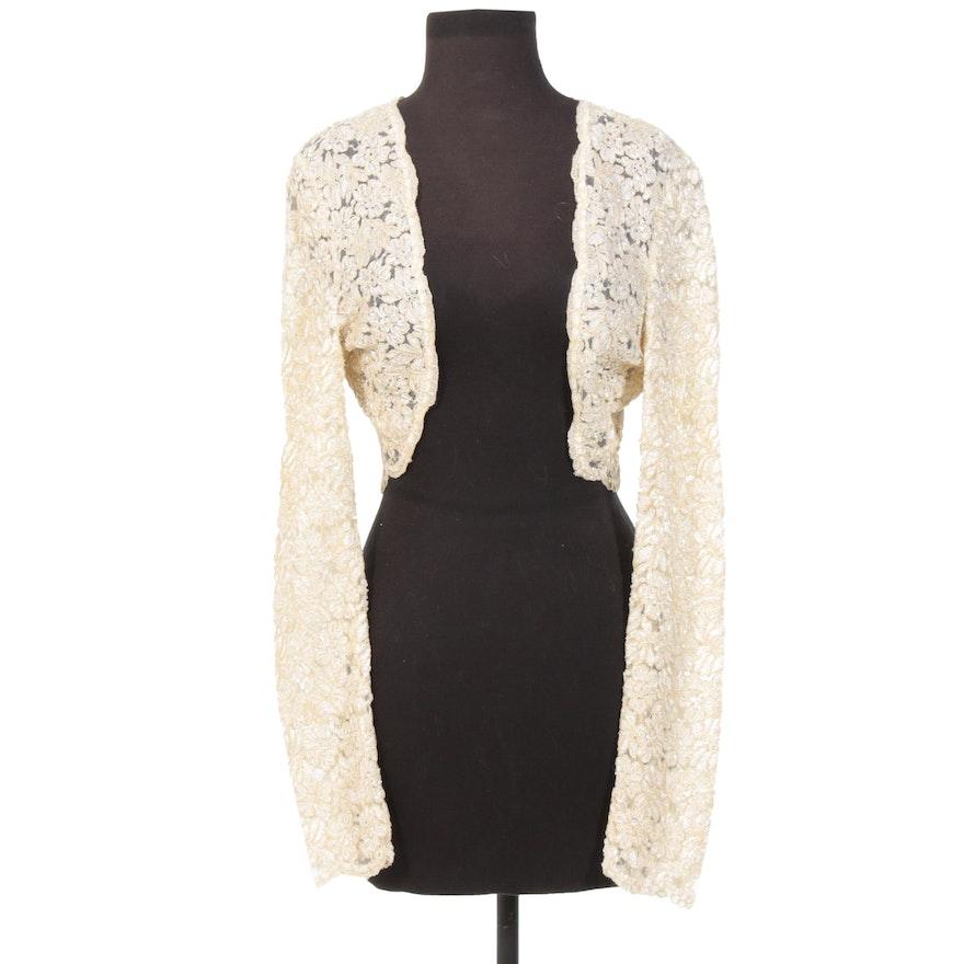 Carmen Marc Valvo Beaded Lace Long Sleeve Bolero Jacket