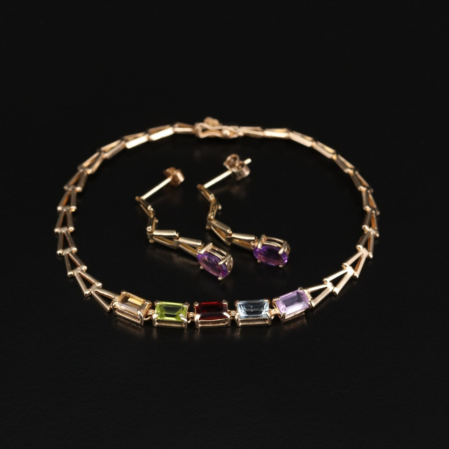 10K Yellow Gold Amethyst Earrings and 14K Yellow Gold Multi-Gemstone Bracelet