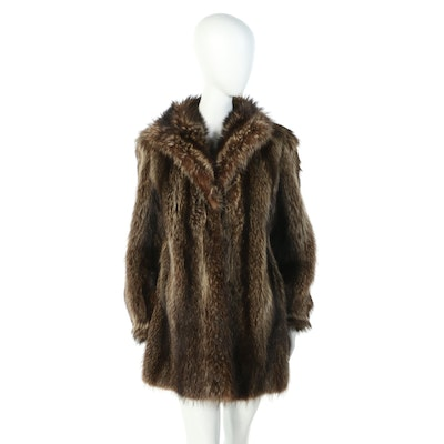 Raccoon Fur Coat with Wing Collar from I.J. Fox Furs of Boston