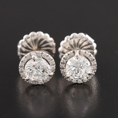 14K White Gold 2.10 CTW Diamond Stud Earrings