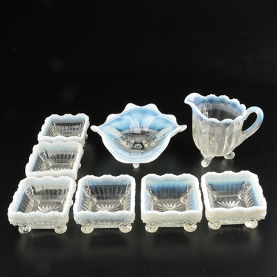 "Northwood White Opalescent ""Klondyke"" Creamer and Dish with ""Alaska"" Berry Bowls"