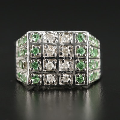 Sterling Silver Tsavorite Garnet and Diamond Ring